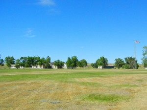 Parade ground and buildings at Fort Laramie.