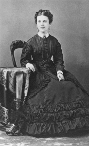 Annie Bidwell in 1875. There is a ring on her left hand, but it is impossible to see what it looks like.