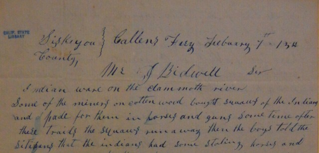 Letter from Jas. C. Callen to John Bidwell, courtesy of the California State Library.
