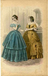 A fashion plate from Godey's Lady's Book 1853.