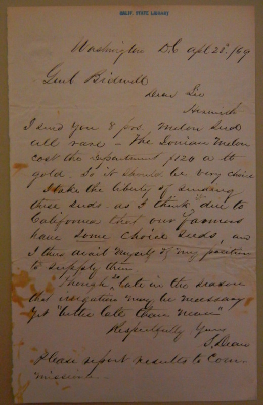 Letter to John Bidwell from S. Dean. John Bidwell Papers, California State Library.