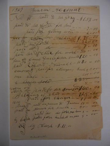 1849-1850 Farm Account for Rancho Chico courtesy Special Collections Meriam Library CSUChico