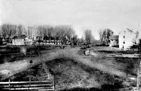 Rancho  Chico in the 1850s, with Bidwell's Store, adobe house and hotel, and flour mill.
