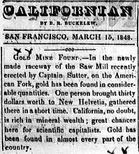 CalifornianNewspaperGoldFoundMarch15-1848