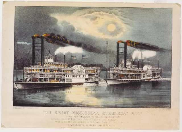 the-great-mississippi-steamboat-race-currier-ives