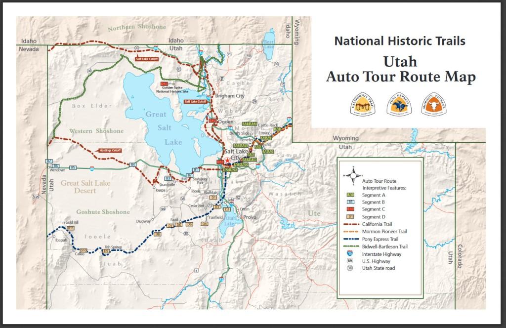 National Historic Trails map of Utah